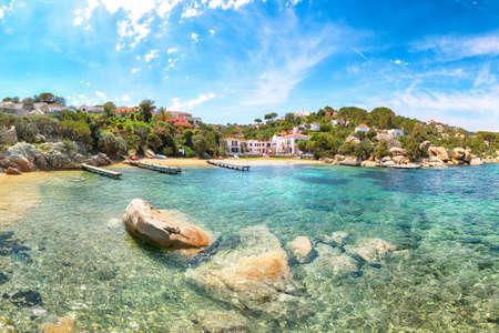 Fantastic view of beach on Porto Rafael resort. Picturesque seascape of Mediterranean sea. Location: Porto Rafael, Olbia Tempio province, Sardinia, Italy, Europe 免版税图像