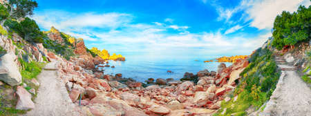 Stunning view of popular travel destination Costa Paradiso. Picturesque landcape of Mediterranean sea. Location: Costa Paradiso, Province of Sassari, Sardinia, Italy, Europe