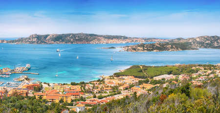 Astonishing view on Palau port and Santo Stefano with La Maddalena islands. Location: Palau, Province of Olbia-Tempio, Sardinia, Italy, Europe