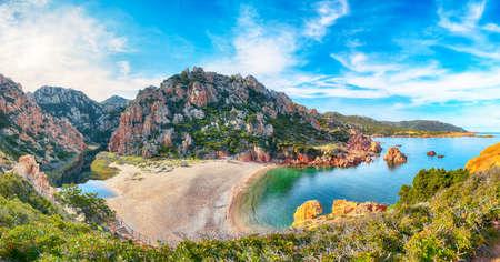 Fantastic view of Li Cossi beach on Costa Paradiso resort. Picturesque seascape of Mediterranean sea. Location: Costa Paradiso, Province of Sassari, Sardinia, Italy, Europe