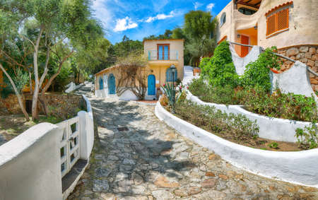 Splendid view of Porto Rafael resort. Picturesque houses of Sardinia. Location: Porto Rafael, Olbia Tempio province, Sardinia, Italy, Europe