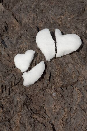 Two broken hearts formed from snow on rock surface symbolizing shattered love. photo