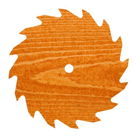 softwood: Pine or spruce (softwood) deck board stained with cedar colored transparent deck stain shaped like circular saw blade.