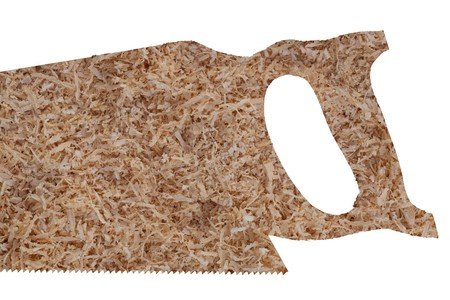 softwood: Softwood shavings forming shape of hand saw. Stock Photo