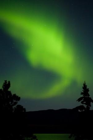polar lights: Intense Aurora borealis being mirrored on Lake Laberge, Yukon T., Canada.
