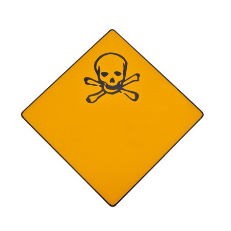 Skull and crossbones warning sign isolated on white with lots of copyspace for your message. Banco de Imagens