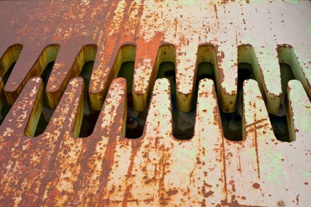 ironworks: Engaging steel teeth of a steel bridge expansion joint Stock Photo