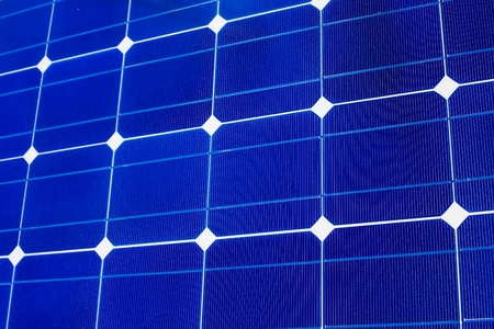 photoelectric: Pattern of solar cell wafers in photovoltaic solar panel. Stock Photo