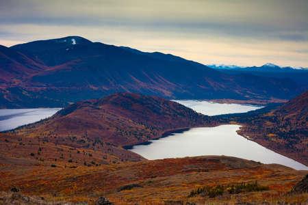 alpine tundra: Fall-colored alpine tundra surrounding mountain lakes in Yukon Territory, Canada.