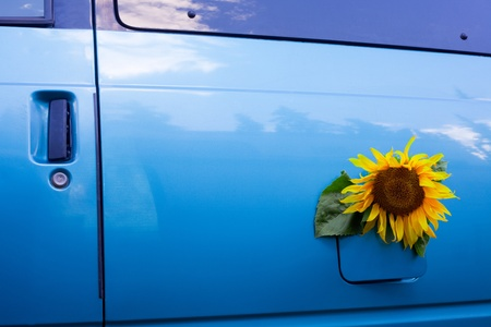 propellant: Sunflower growing out of a vehicles gas tank symbolizing the concept of bio-fuel.