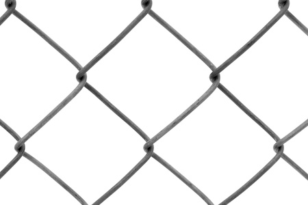 Chainlink fencing background texture pattern isolated on white background photo