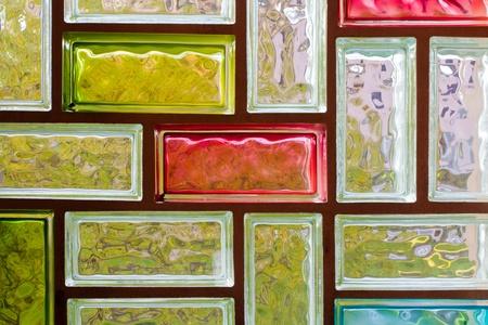 Licht verzerren colorful Glass Block Fenster Mosaic Hintergrund Muster Textur. Lizenzfreie Bilder