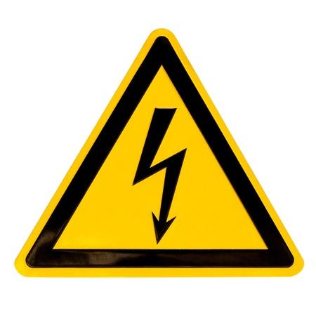 descarga electrica: Signo de peligro real de metal de alto voltaje aislado en blanco Foto de archivo