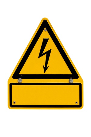 Real metal high voltage danger sign isolated on white with blank copyspace for your message. photo