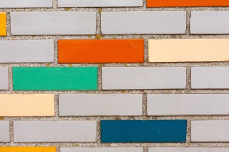 Background texture pattern of exterior wall with fake colorful brick siding. Stock Photo - 8931340