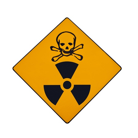 Deadly nuclear radiation warning sign with skull and crossbones isolated on white. photo