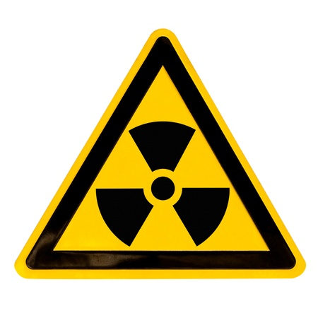 Nuclear radiation warning sign isolated on white Stock Photo - 9106800