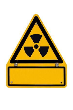 Radiation warning sign isolated on white with blank copyspace for your message. Stock Photo - 9105925