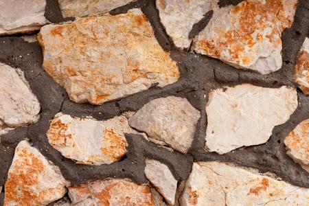 Rough quarry stone and mortar wall background texture pattern. Stock Photo - 9233482
