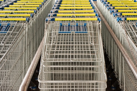 Rows of ready to use shopping carts lined-up in rows for storage. photo