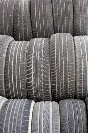 Background texture pattern of old tires for rubber recycling. photo