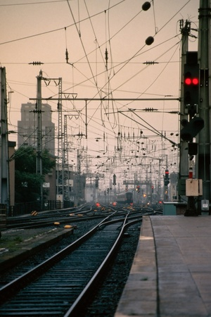 Early morning at major railway station in Germany. photo