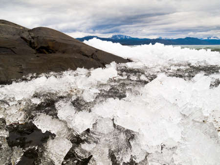 breaking: Breaking ice at Lake Laberge, Yukon Territory, Canada