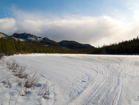 snowmobile: Well used winter trail in boreal forest (taiga).