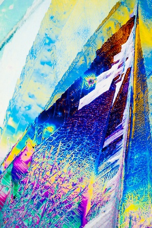 si�o: Colorful apearence of crystals of sodium thiosulphate (fixing salt) in polarized light.