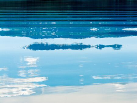 Distant shoreline, clouds and blue sky mirrored on calm lake surface with distortions of some ripples. photo