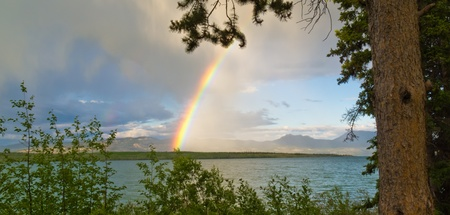 thundershower: Summer Thundershower resulting in a rainbow over pristine Lake Laberge, Yukon Territory, Canada.