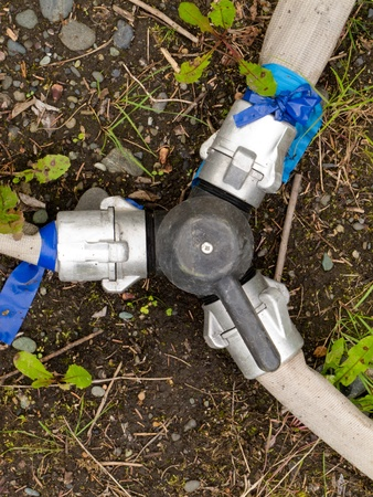 fire fighting equipment: 3-way connector valve with fire hoses attached to fittings on forest floor. Stock Photo