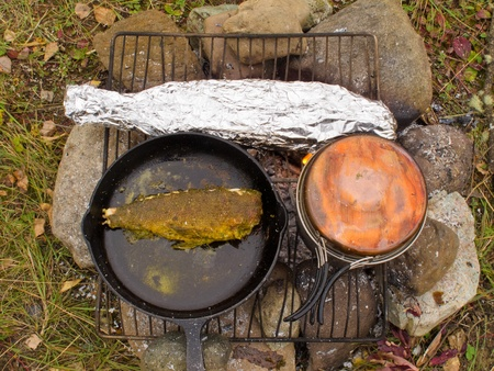 grayling: Cooking delicious fish dinner on campfire: Fish (Grayling) frying in cast iron pan and steaming in tin foil.