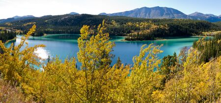 yukon: Panorama of fall colors at Emerald Lake near Carcross, Yukon Territory, Canada
