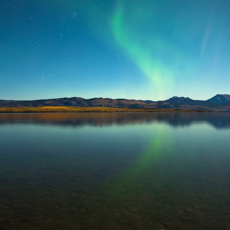 yukon: Northern lights (Aurora borealis) in moonlit night over Lake Laberge, Yukon, Canada, in fall.