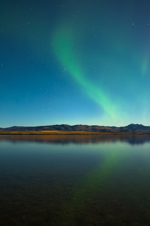 Northern lights (Aurora borealis) in moonlit night over Lake Laberge, Yukon, Canada, in fall.