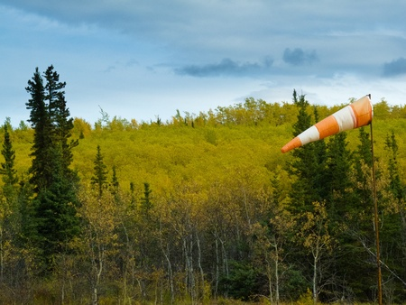 Red and white windsock wind filled in front of fall colored boreal forest (taiga) in Yukon Territory, Canada. photo