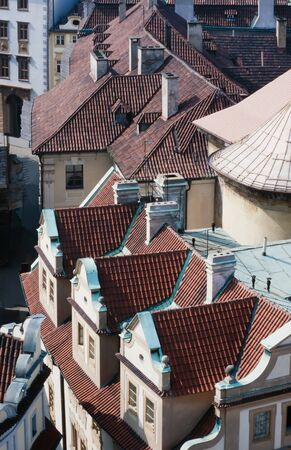 czechia: Overhead view looking down onto the tiled red rooftops of Prague, capital of Czechia, Europe