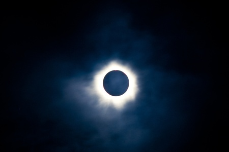 Total solar eclipse with the moon obscuring the disc of the sun so that only the corona is visible as a bright ring Stock Photo