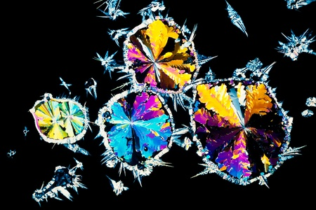 citric: Colorful apearence of crystals of citric acid, a food additive, in polarized light