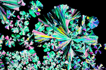 citric acid: Colorful apearence of crystals of citric acid, a food additive, in polarized light