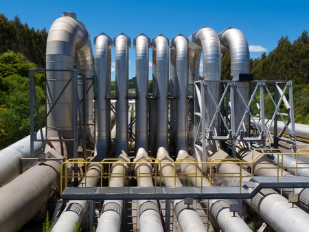 Background of a pipeline installation for distribution and supply of liquid and gaseous products, such as petroleum based resources, over long distances Stock Photo - 13590082