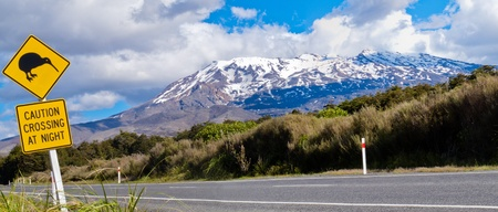 rhombus: New Zealand Road Sign Attention Kiwi Crossing at road near active volcano of Mount Ruapehu in Tongariro National Park Stock Photo