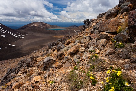 stratovolcano: Blue Lake on active volcanic central plateau of Tongariro National Park on North Island of New Zealand