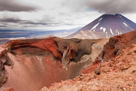 Active volcano cone of Mount Ngauruhoe as seen from Mount Tongariro in Tongariro National Park, North Island of New Zealand