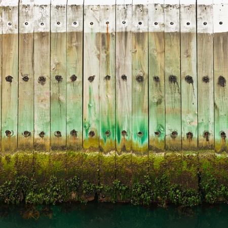 wasserlinie: Alte h�lzerne Pier Wand mit einem Gezeiten-Wasserlinie und Algen Wachstum am unteren Rand