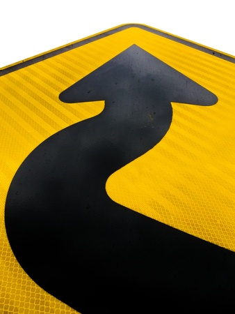 strive: Wavy arrow on road sign pointing upward in a concept of achievement, advancement and success Stock Photo