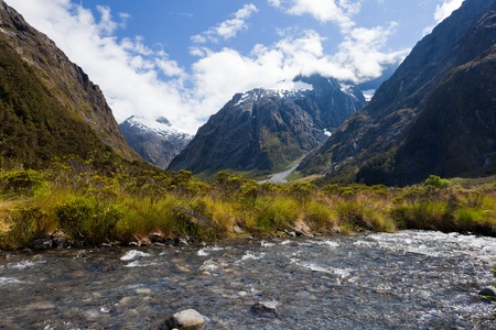 Hollyford River valley in Fjordland National Park, Southern Alps, New Zealand photo