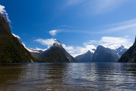 Milford Sound and Mitre Peak in Fjordland National Park, Southern Alps, New Zealand photo