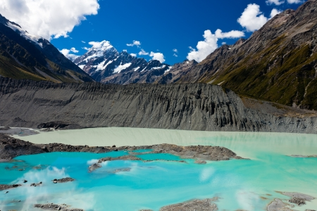 silt: Glacial lake in hues of turquoise from silt in Aoraki Mount Cook National Park with Aoraki Mt Cook in background